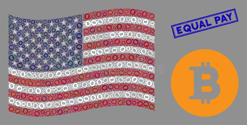 USA:s flagga Stylized Composition of Bitcoin Coin and Scratched Equal Pay Seal stock illustrationer