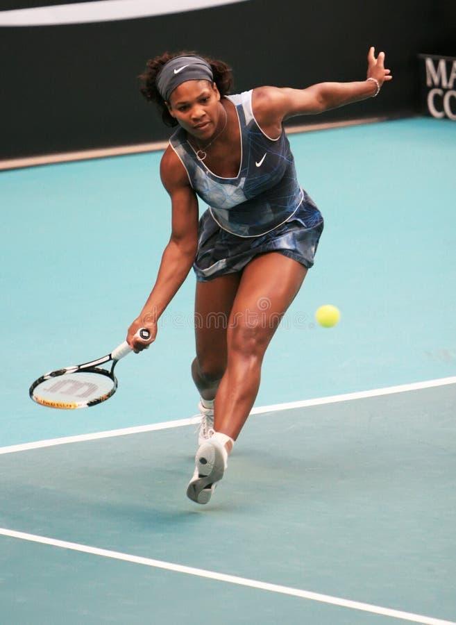 Usa's Serena Williams at Open GDF Suez. PARIS - FEBRUARY 11: US Serena Williams returns the ball at Open GDF SUEZ WTA tournament, Pierre de Coubertin stadium on stock photography