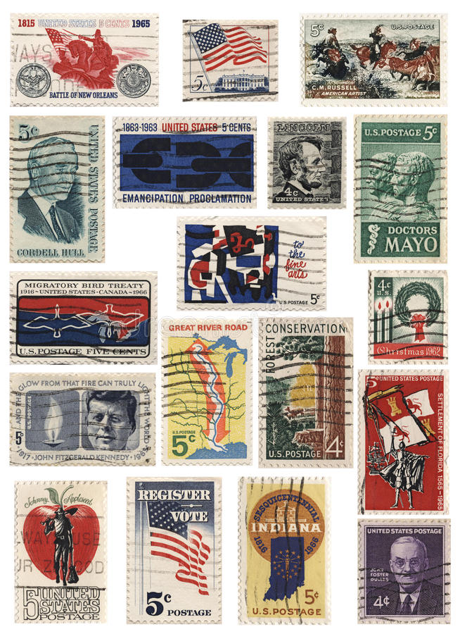 USA 1960s Stamp Collage. Collage of various vintage stamps during the 1960s period royalty free stock photos