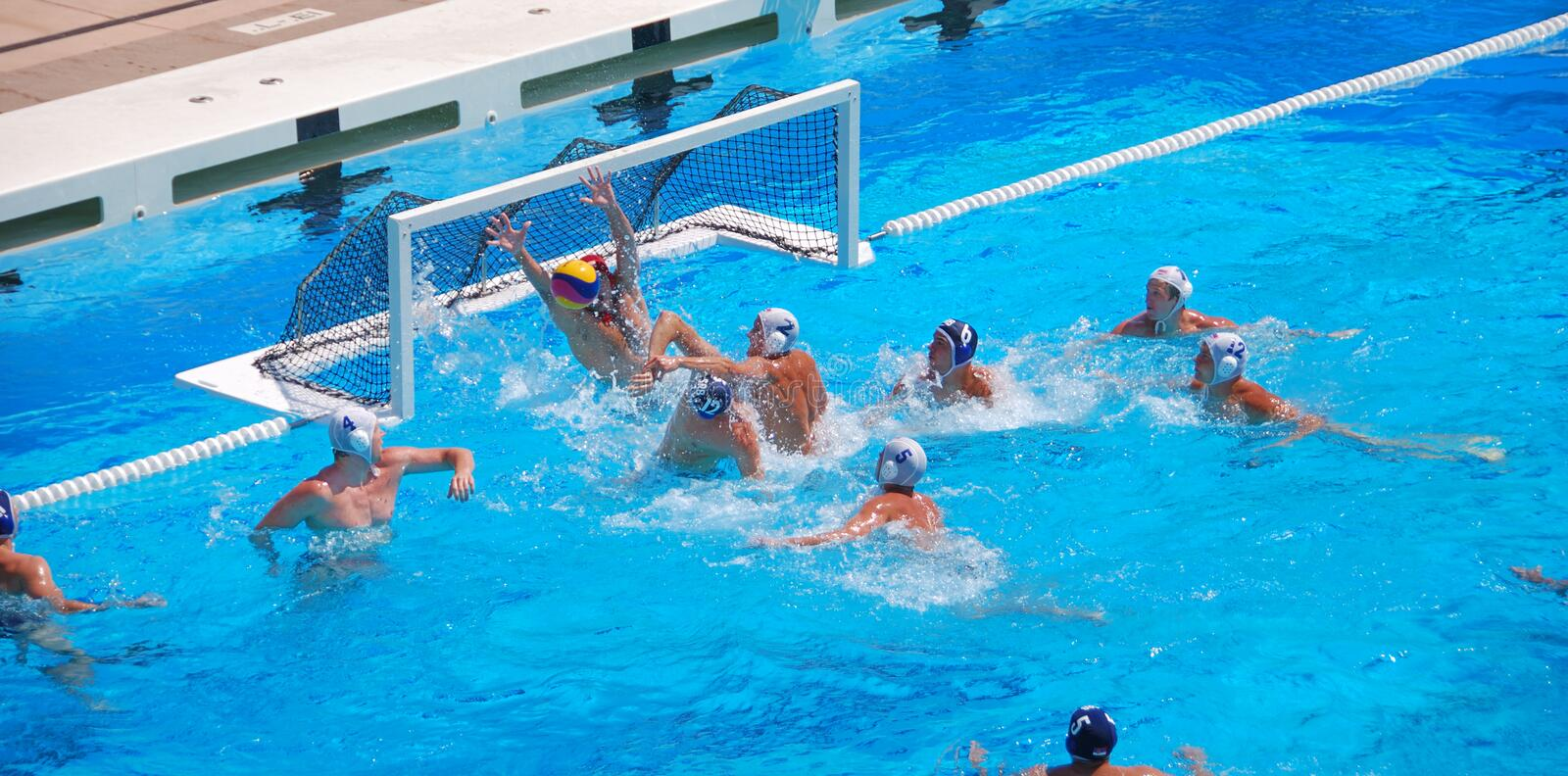 USA - Serbia Friendly Water Polo Game royalty free stock photography