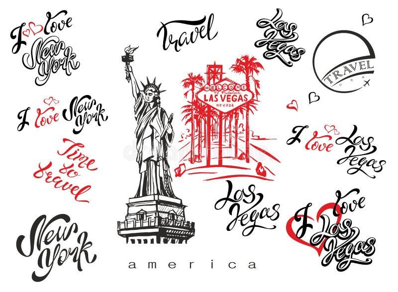 USA Set Elemente für Auslegung Las Vegas New York Marksteinskizzen Freiheitsstatue u Anspornungsbeschriftung Schablonen von rea stock abbildung