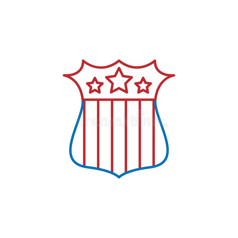 USA, shield icon. Element of USA culture icon. Thin line icon for website design and development, app development. Premium icon. On white background vector illustration