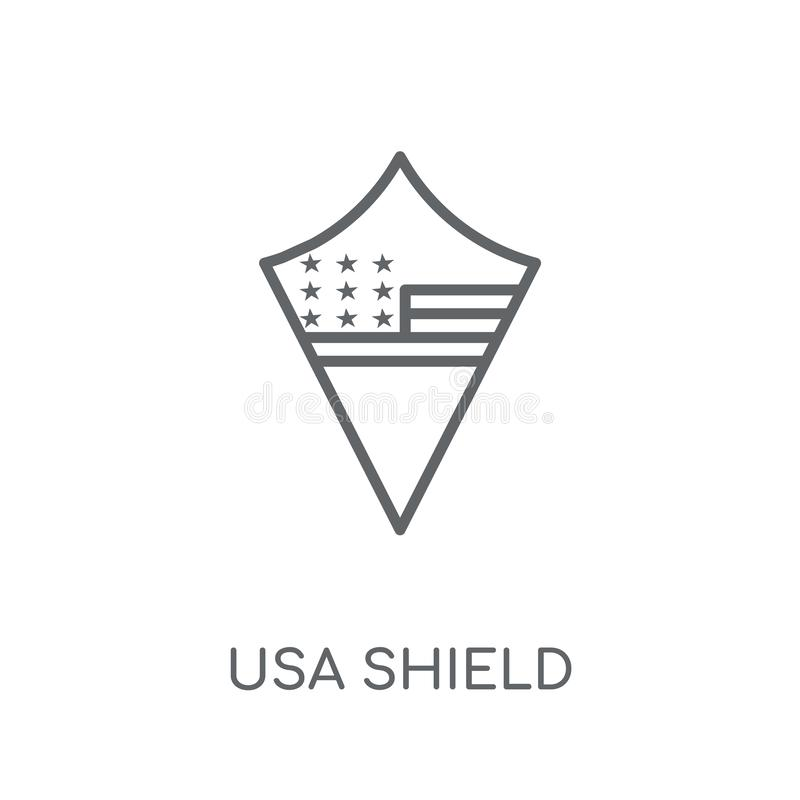 Usa shield linear icon. Modern outline Usa shield logo concept o. N white background from United States of America collection. Suitable for use on web apps stock illustration