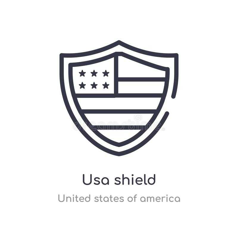 Usa shield outline icon. isolated line vector illustration from united states of america collection. editable thin stroke usa. Shield icon on white background royalty free illustration