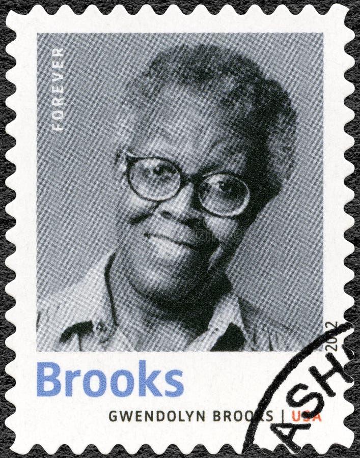 USA - 2012: shower Gwendolyn Elizabeth Brooks 1917-2000, amerikansk poet, författare och lärare, serieNobel pristagare i litterat arkivbild