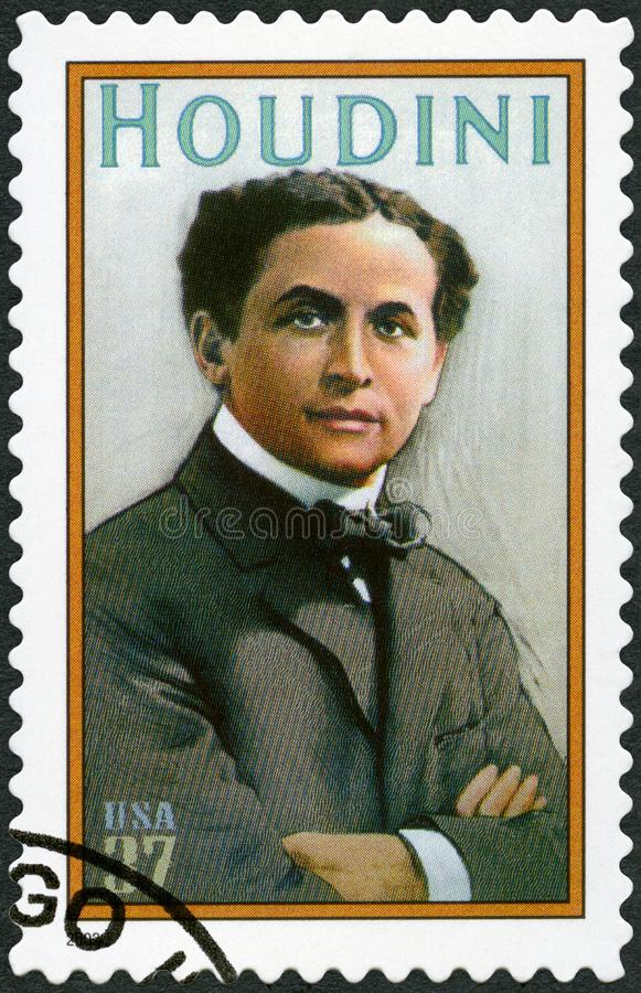 USA - 2002: shower Harry Houdini 1874-1926, Erik Weisz, trollkarl royaltyfri bild