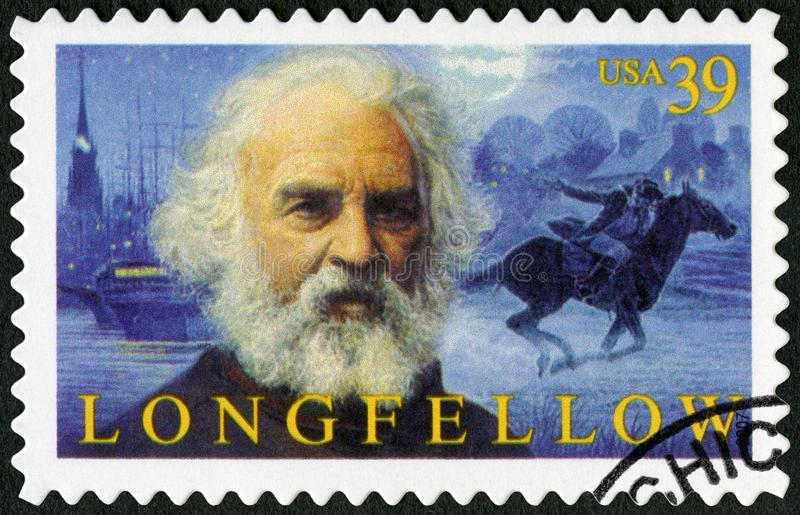 USA - 2007: shower Henry Wadsworth Longfellow 1807-1882, amerikansk poet arkivbilder