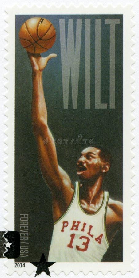 USA - 2014: shower Wilton Norman Wilt Chamberlain 1936-1999, basketspelare royaltyfria foton