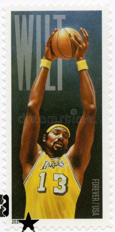 USA - 2014: shower Wilton Norman Wilt Chamberlain 1936-1999, basketspelare royaltyfria foton