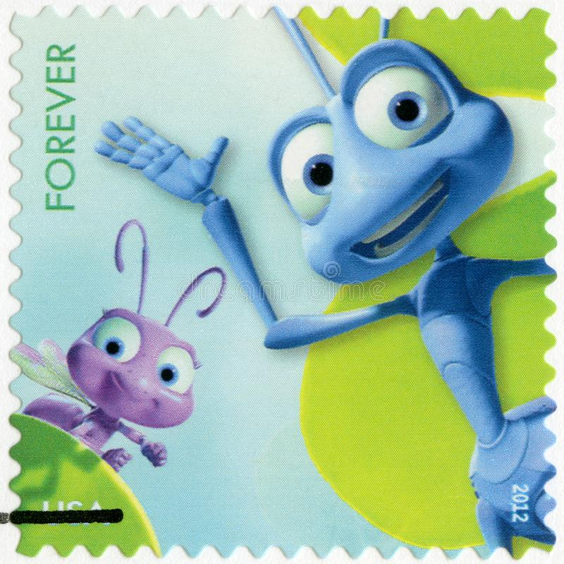 USA - 2012: shows Dot and Flick from A Bug`s Life, series mail a smile vector illustration