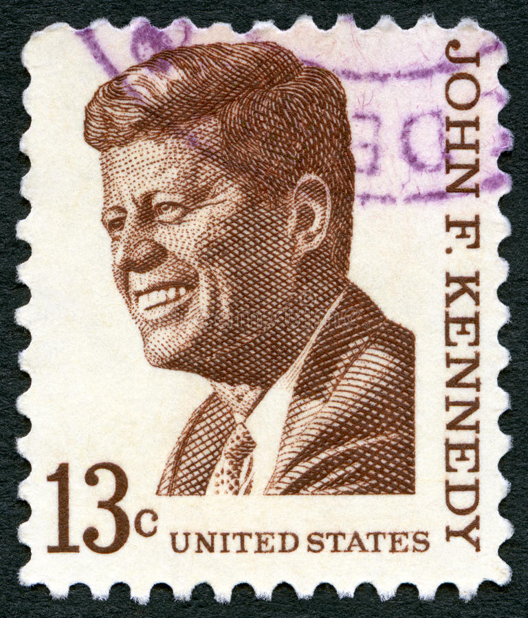 USA - 1965: shows John F. Kennedy 1917-1963, series Prominent Americans Issue. USA - CIRCA 1965: A stamp printed in USA shows John F. Kennedy 1917-1963, series stock photo