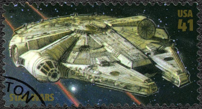 USA - 2007: shows Millennium Falcon, series Premiere of Movie Star Wars 30 anniversary stock images