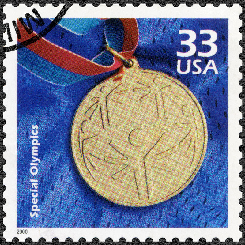 USA - 2000: shows Olympic gold medal, devote Special Olympic, series Celebrate the Century, 1990s stock photography