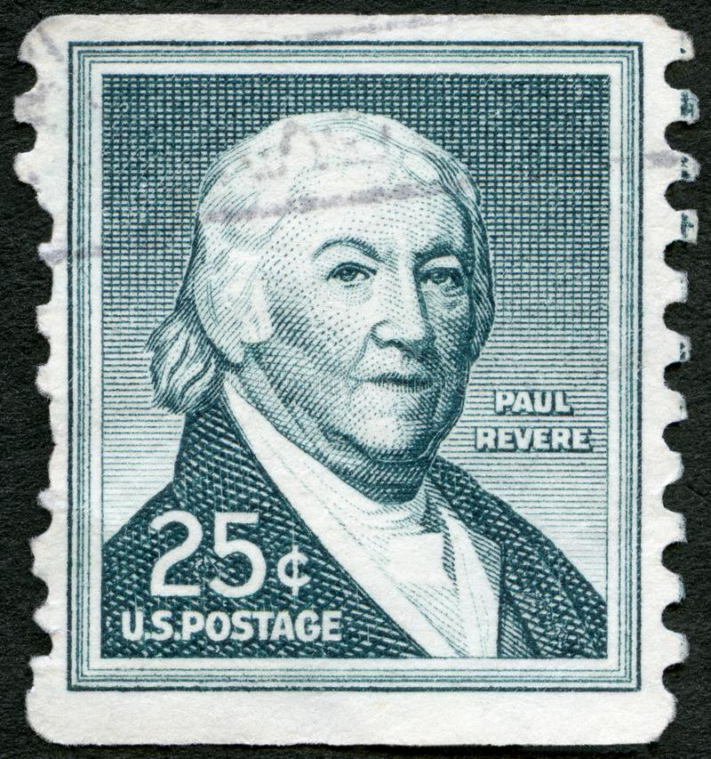 USA - 1954: shows Paul Revere 1734-1818 American silversmith. UNITED STATES OF AMERICA - CIRCA 1954: A stamp printed in USA shows Paul Revere 1734-1818 American royalty free stock photo