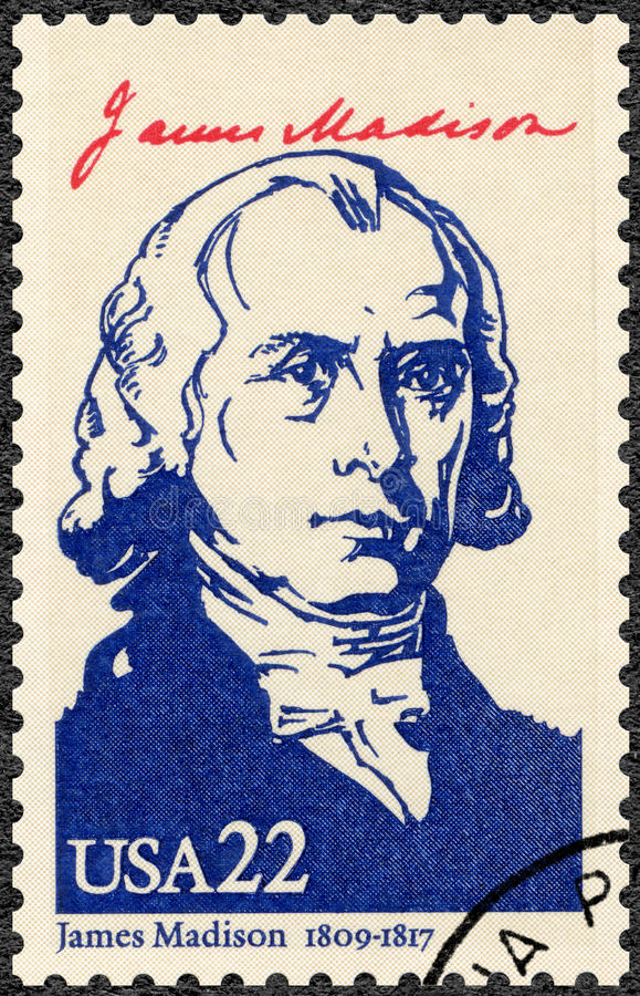 USA - 1986: shows portrait James Madison Jr. 1751-1836, fourth President of the USA, series Presidents of USA royalty free stock images