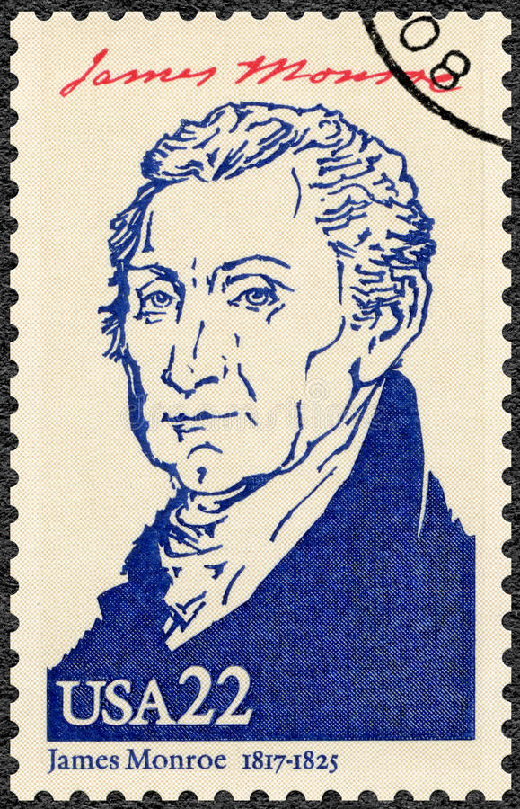 USA - 1986: shows portrait James Monroe 1758-1831, fifth President of the USA, series Presidents of USA royalty free stock images
