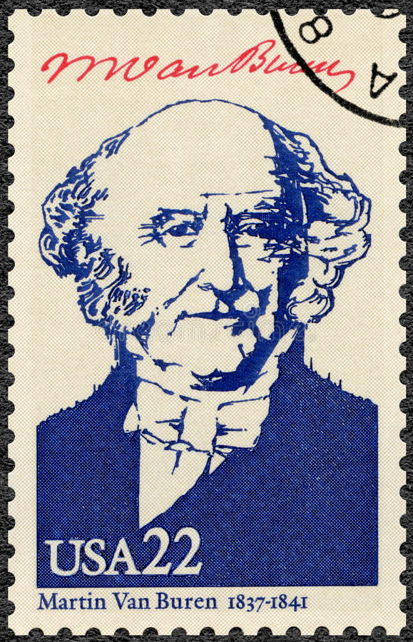 USA - 1986: shows portrait Martin Van Buren 1782-1862, eighth President of the USA, series Presidents of USA stock image