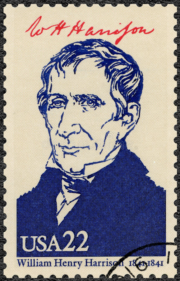 USA - 1986: shows portrait William Henry Harrison 1773-1841, ninth President of the USA, series Presidents of USA. UNITED STATES OF AMERICA - CIRCA 1986: A stamp stock photo