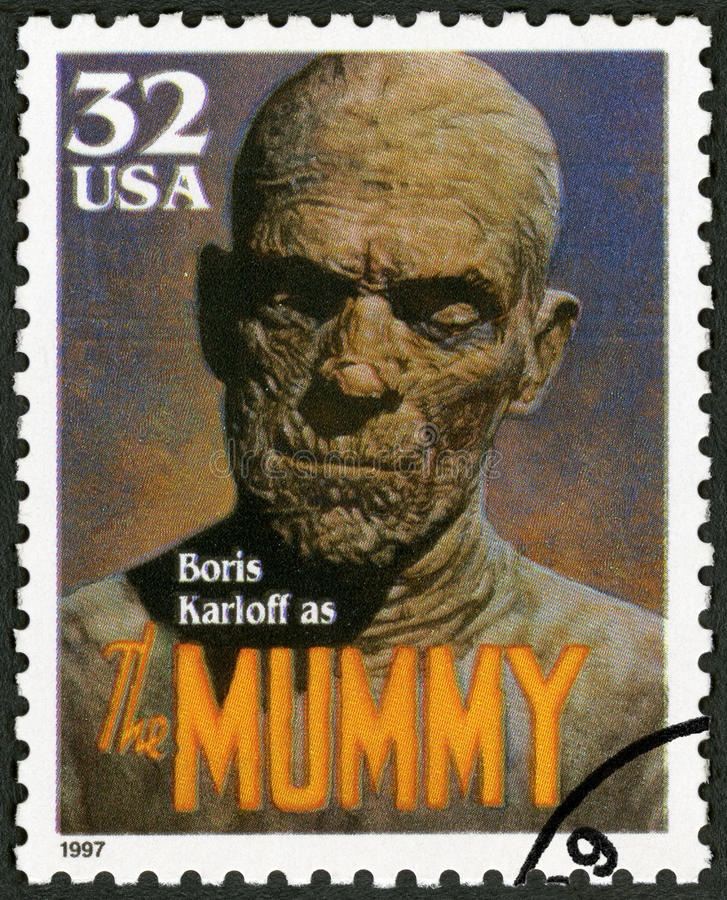 USA - 1997: shows portrait of William Henry Pratt Boris Karloff 1887-1969 as The Mummy, series Classic Movie Monsters. UNITED STATES OF AMERICA - CIRCA 1997: A stock photo