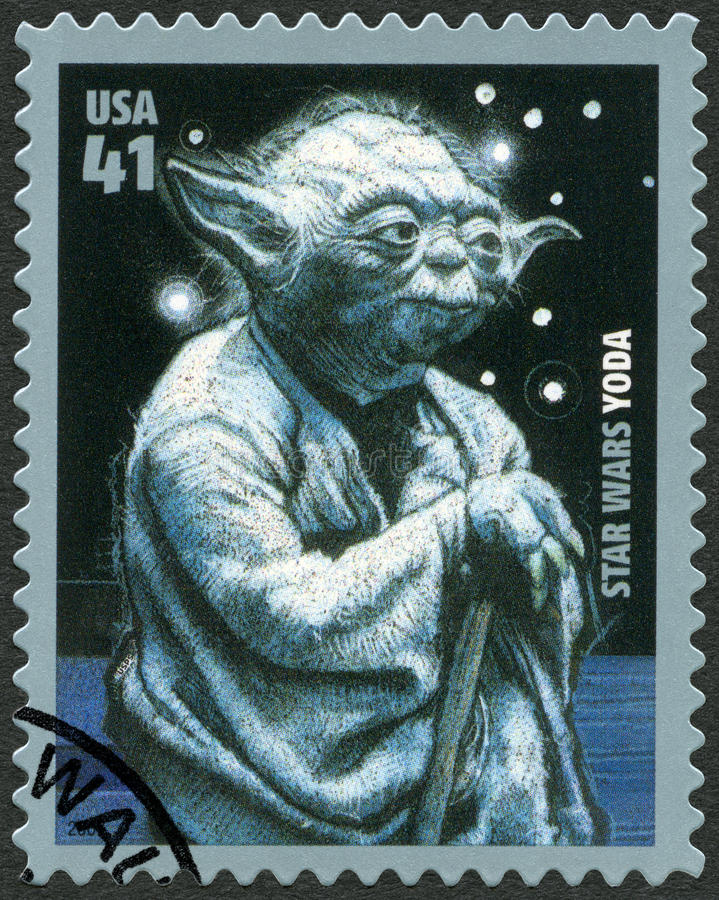 USA - 2007: shows portrait of Yoda, series Premiere of Movie Star Wars 30 anniversary. UNITED STATES OF AMERICA - CIRCA 2007: A stamp printed in USA shows royalty free stock images