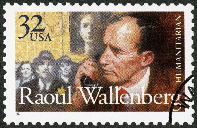 USA - 1997: shows Raoul Gustaf Wallenberg 1912-1945, Swedish architect, businessman, diplomat and humanitarian. UNITED STATES OF AMERICA - CIRCA 1997: A stamp stock photo