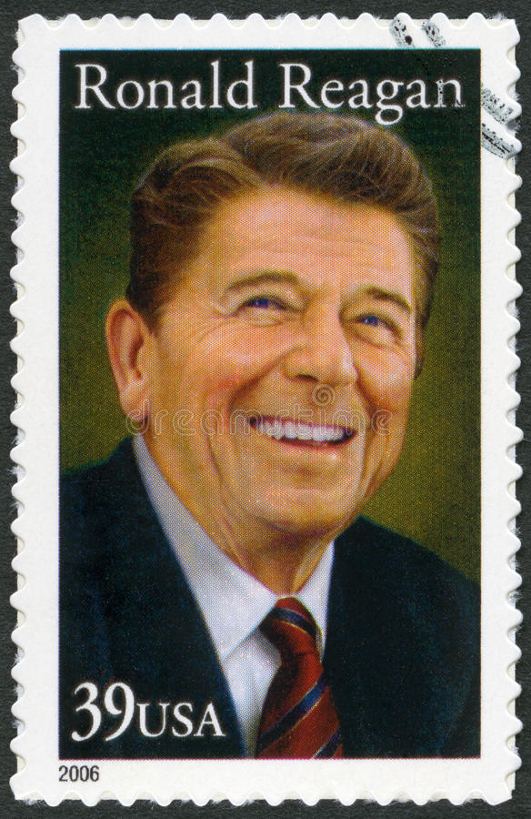 USA - 2005: shows Ronald Reagan (1911-2004), 40th President. USA - CIRCA 2005: A stamp printed in United States shows Ronald Reagan (1911-2004), 40th President stock photo