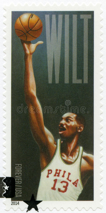 USA - 2014: shows Wilton Norman Wilt Chamberlain 1936-1999, basketball player. UNITED STATES OF AMERICA - CIRCA 2014: A stamp printed in USA shows Wilton Norman royalty free stock photos