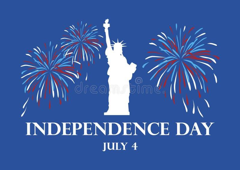 USA självständighetsdagen med statyn av frihetvektorn stock illustrationer