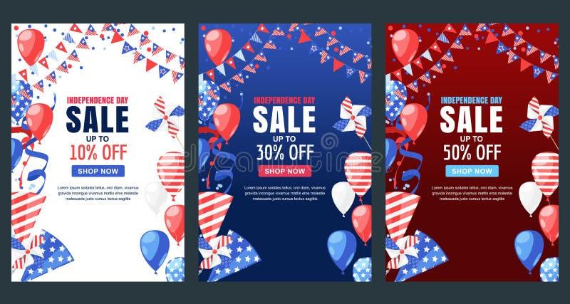 USA självständighetsdagen Sale vektorbaner Semestra bakgrund med flaggan, luftballonger, fyrverkerier 4 av Juli beröm royaltyfri illustrationer
