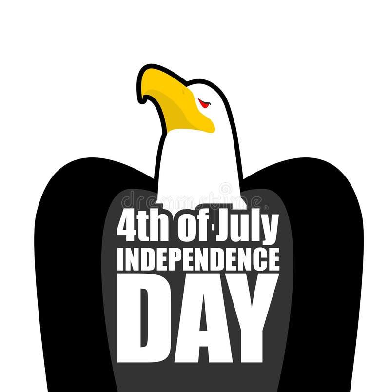 USA självständighetsdagen Skalliga Eagle och text Stor rov- fågel royaltyfri illustrationer