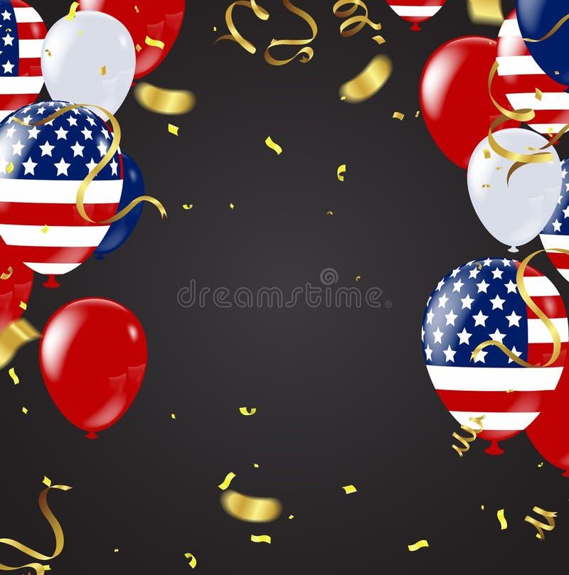 USA självständighetsdagenbaner på bakgrund för marinstjärnamodell, Vec stock illustrationer