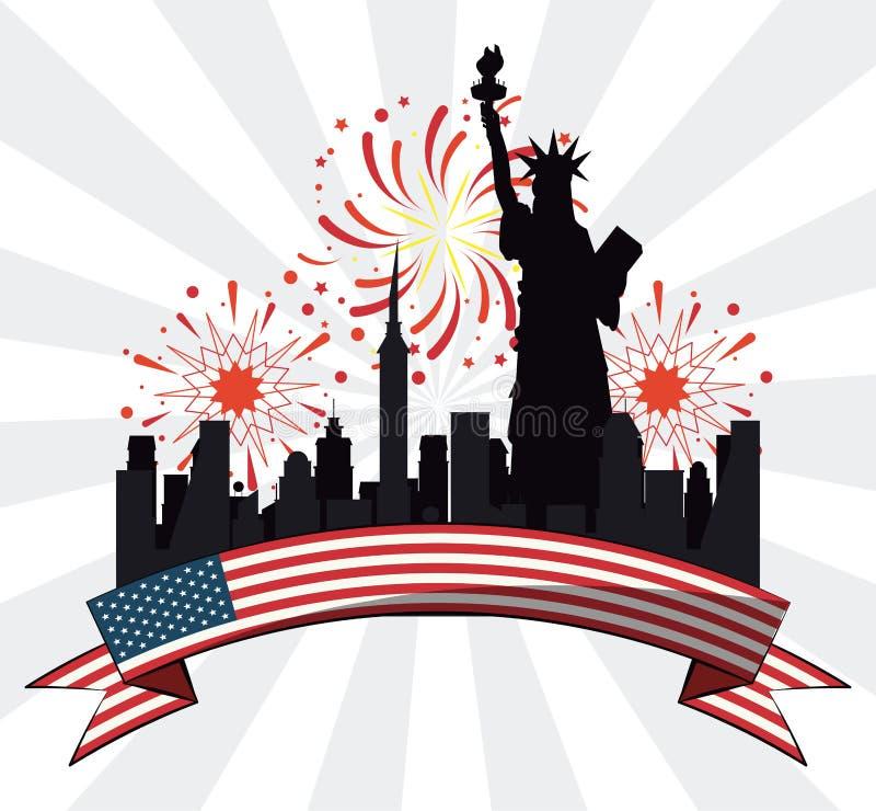 USA-självständighetsdagendesign stock illustrationer