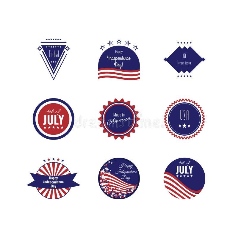 USA-självständighetsdagenlogotyper inställda logoer Den 4th ogen Juli Amerikanska flagganfärger royaltyfri illustrationer