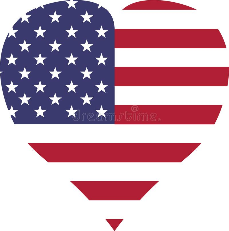 USA sjunker den vita röda bandhjärtaformen vektor illustrationer