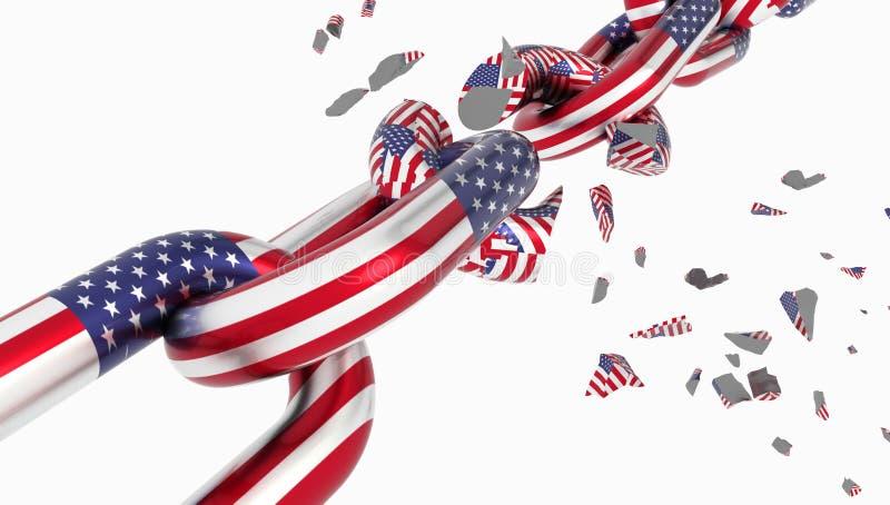 USA sjunker det brutna kedjefrihetsavskiljandet som deviging - tolkningen 3d stock illustrationer