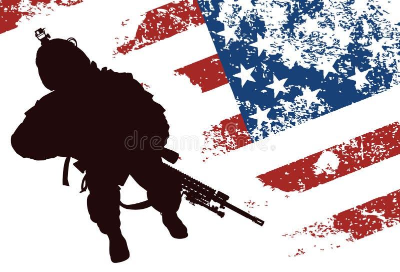 USA-soldat royaltyfri illustrationer