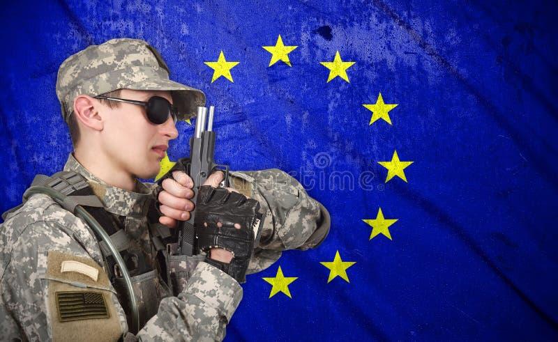 USA-Soldat mit Gewehr vektor abbildung