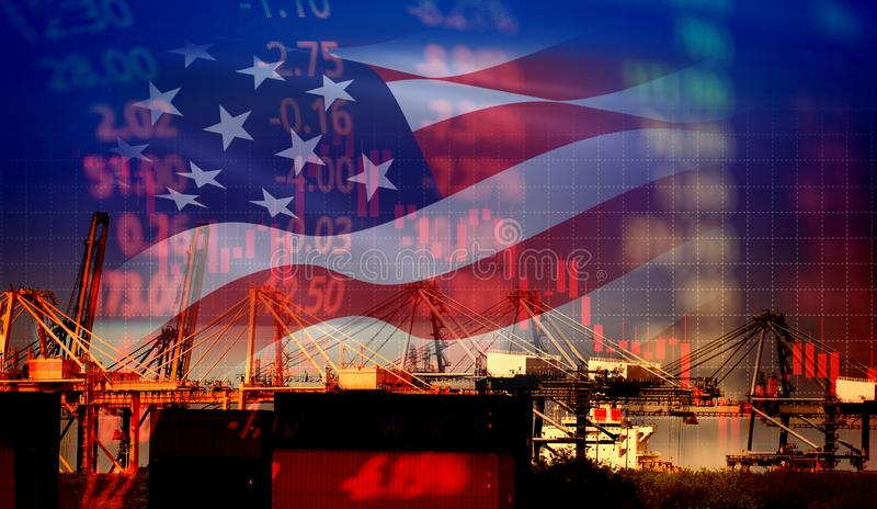USA som Amerika handlar kris för pengar för diagram för graf för finans för affär för skatt för krigekonomikonflikt/för Förenta s arkivbilder