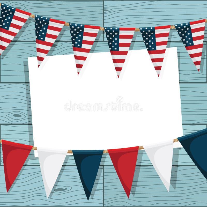 USA som bunting garneringen vektor illustrationer