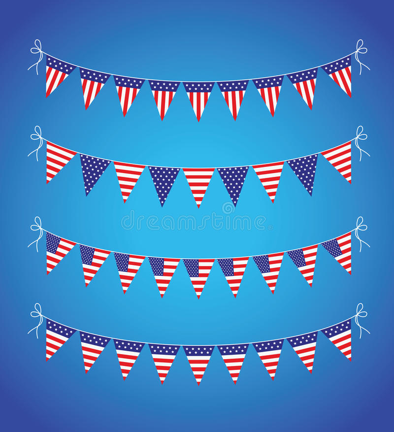 USA som bunting uppsättningen royaltyfri illustrationer