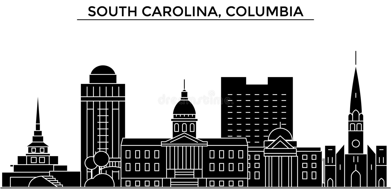 Usa, South California, Columbia architecture vector city skyline, travel cityscape with landmarks, buildings, isolated. Usa, South California, Columbia royalty free illustration
