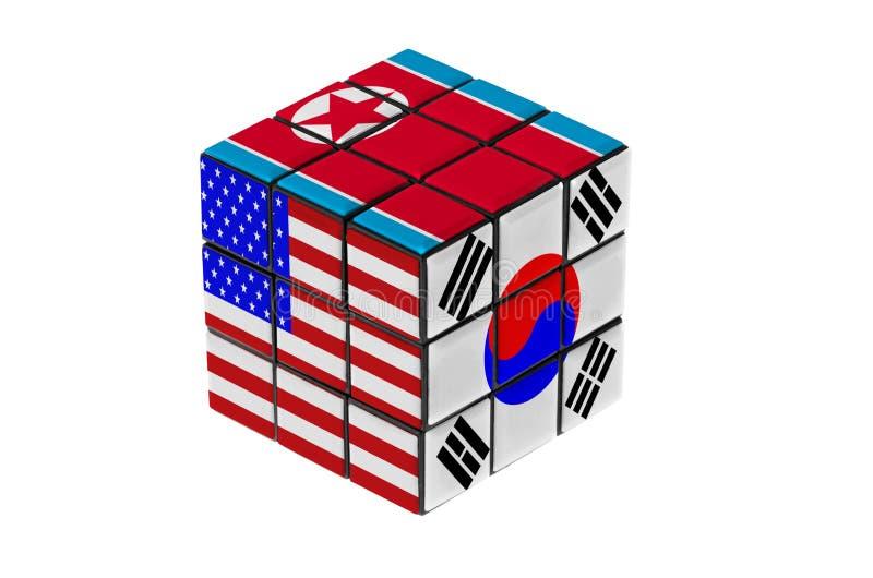 USA, South Korea and North Korea flag puzzle shape. stock illustration