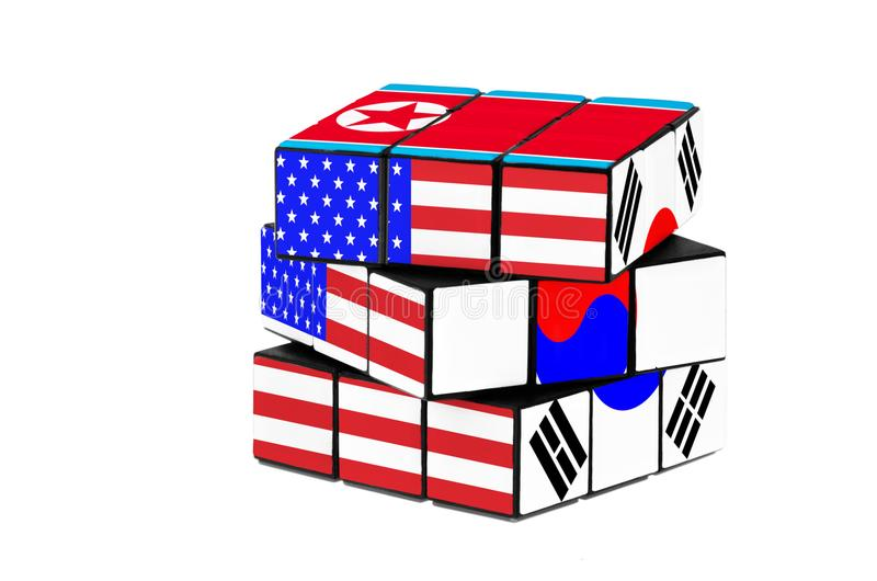 USA, South Korea and North Korea flag puzzle shape. stock photos
