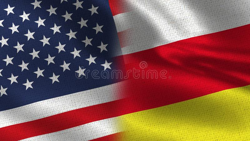 Usa and South Ossetia Realistic Half Flags Together royalty free stock images