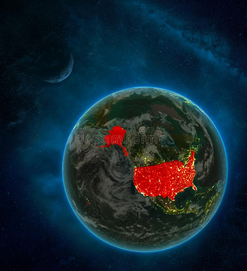 USA from space on Earth at night surrounded by space with Moon and Milky Way. Detailed planet with city lights and clouds. 3D. Illustration. Elements of this stock illustration