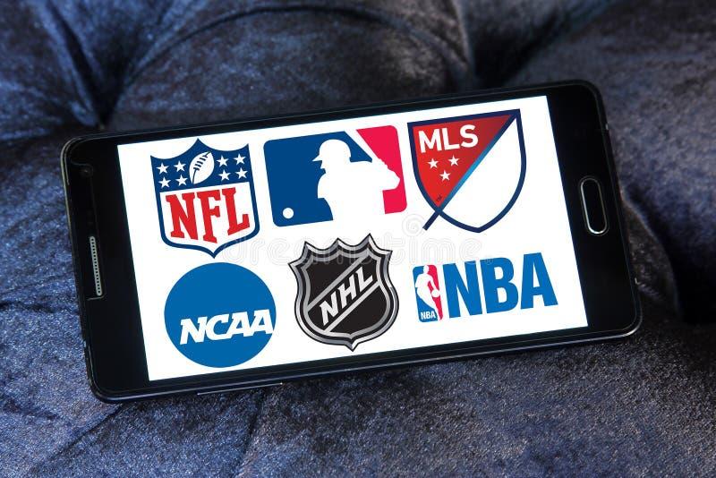 USA-sportlogoer och symboler royaltyfri fotografi