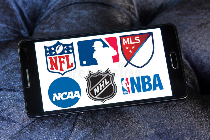 Usa sports logos and icons. Collection of logos and vector of most popular usa sports leagues on samsung mobile phone a5. leagues like nfl, mls, nba, nhl, ncaa royalty free stock photography