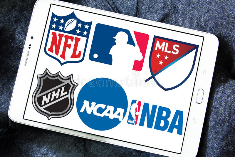 Usa sports logos and icons. Collection of logos and vector of most popular usa sports leagues on white tablet. leagues like nfl, mls, nba, nhl, ncaa royalty free stock images
