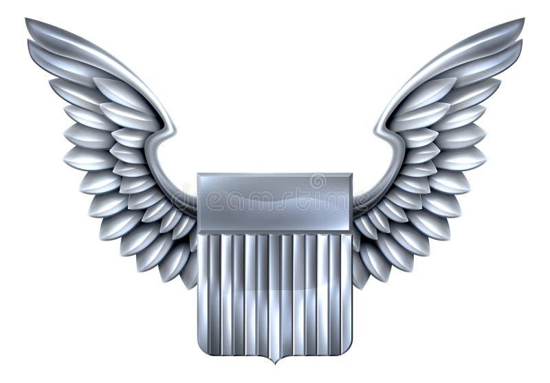 USA Srebna osłona z skrzydłami ilustracja wektor