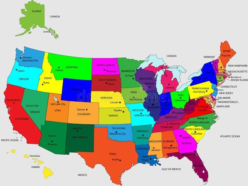 USA 50 stanów żywych kolorów ilustracja wektor